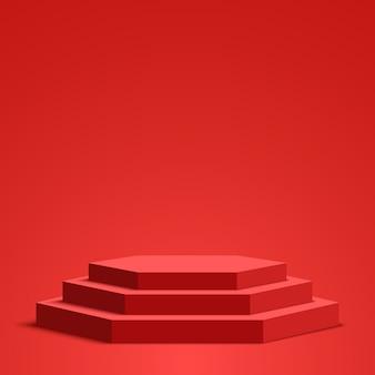 Czerwone podium. piedestał. scena sześciokątna.