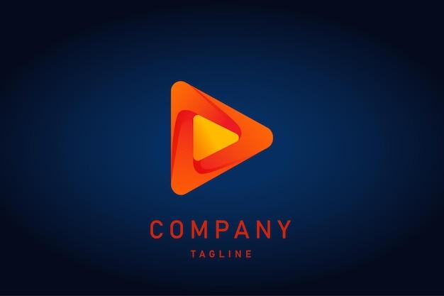 Czerwone pomarańczowe logo gradientowe odtwarzania muzyki