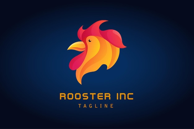 Czerwone pomarańczowe logo koguta z kurczakiem gradientowym