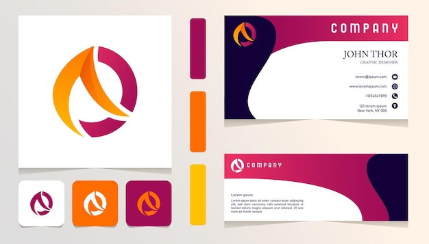 Czerwone, pomarańczowe, żółte, abstrakcyjne logo gradientowe, baner, szablon zestawu firmowego karty firmowej