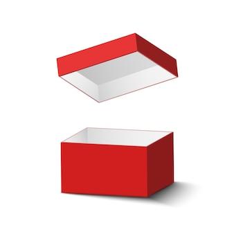 Czerwone pudełko na białym tle z realistycznym cieniem. ilustracja.