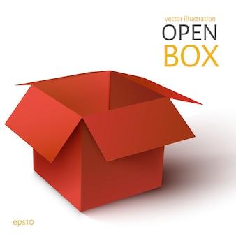 Czerwone pudełko otwarte.