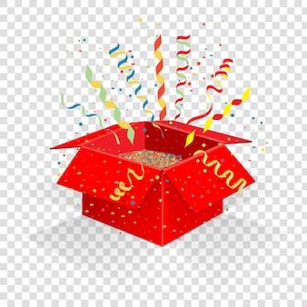 Czerwone pudełko z serpentynem i konfetti.