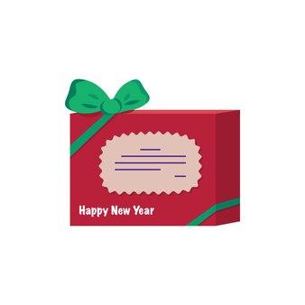 Czerwone pudełko ze słodyczami i prezentami z kokardą. świąteczna dekoracja na nowy rok, święta i ferie zimowe