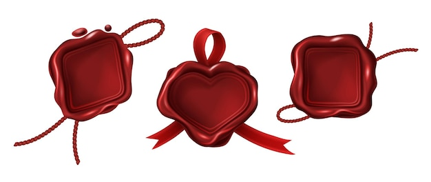 Czerwone puste stemple woskowe różne kształty geometryczne z liną i wstążką. zabytkowe pieczęcie na list