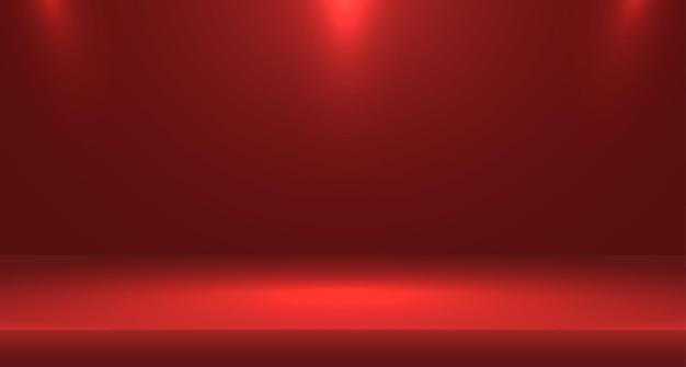 Czerwone puste studio pokojowe używane do tła i wyświetlania banera do projektowania treści dla reklamy