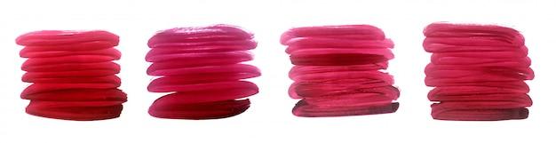 Czerwone ręcznie malowane pociągnięcia pędzlem akwarela zestaw grunge