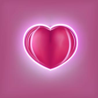Czerwone romantyczne serce z neonem