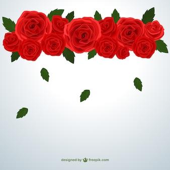 Czerwone róże i liście spadające