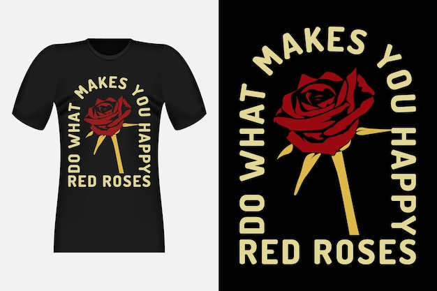 Czerwone róże ręcznie rysowane projekt koszulki w stylu vintage