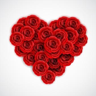 Czerwone róże w formie serca.