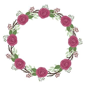 Czerwone róże wieniec koło rama z czerwonym obramowaniem akwareli róż