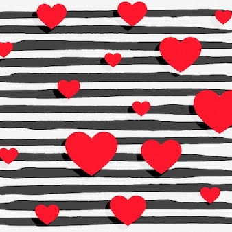 Czerwone serca na czarnym tle paski