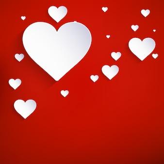 Czerwone serca papierowa naklejka z cieniem walentynki.