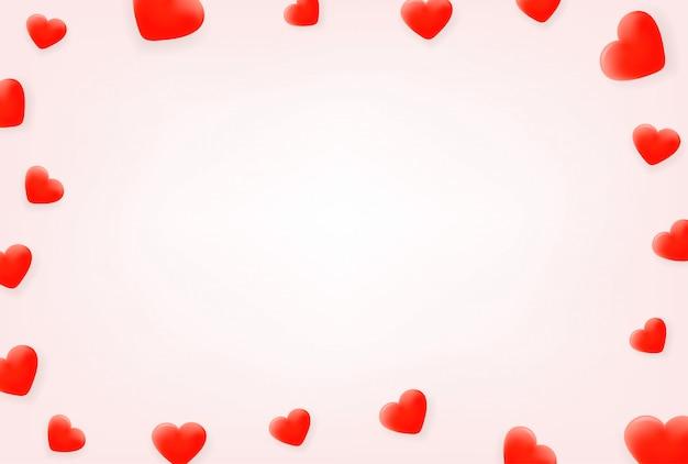 Czerwone serca. rama z miejsca na kopię