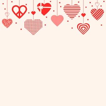 Czerwone serce granicy tło wektor, obraz graficzny miłości