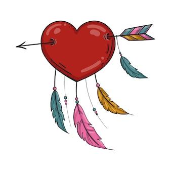 Czerwone serce indian ze strzałką i ornamentem. na białym tle