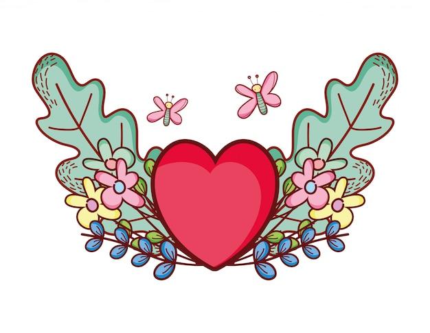 Czerwone serce miłość kreskówka motyle kwiaty