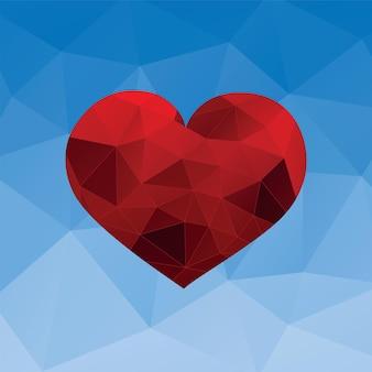 Czerwone serce na niebieskim tle. trójkątny wzór