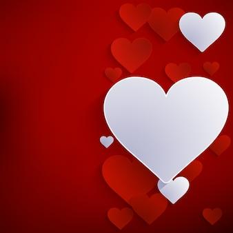 Czerwone serce papierowa naklejka z cieniem.