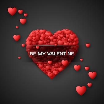 Czerwone serce - symbol miłości. konfetti w serduszka. karta lub baner saint valentines day. wzór na projekt plakatu i opakowania. pojedynczo na czarnym tle