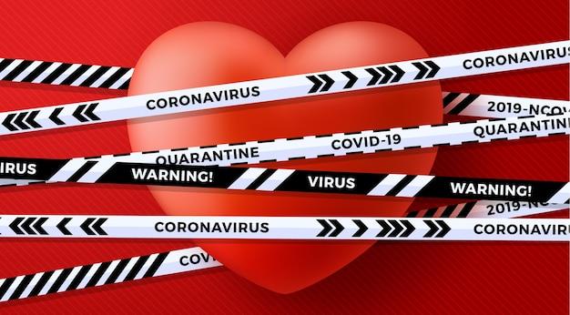 Czerwone serce valentine miłości i niebezpieczeństwo zagrożenia biologicznego kwarantanny. biało-czarne paski.