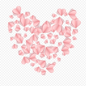 Czerwone serce wektor przezroczyste tło. fly papercut plakat. bordowy kolor love hearts design.
