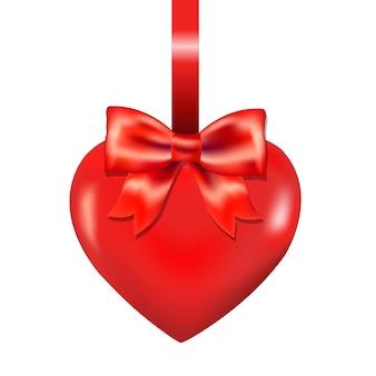Czerwone serce z kokardą