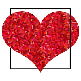 Czerwone serce z pikseli w czarnym kwadracie. walentynki tło na białym tle. symbol miłości element do szablonu ślubu.
