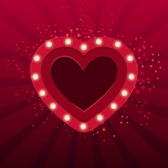 Czerwone serce z żarówkami