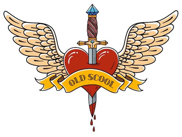 Czerwone serce ze skrzydłami przebitymi starożytnym sztyletem