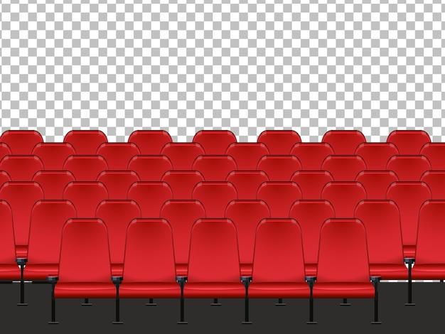 Czerwone siedzenie w kinie z przezroczystym