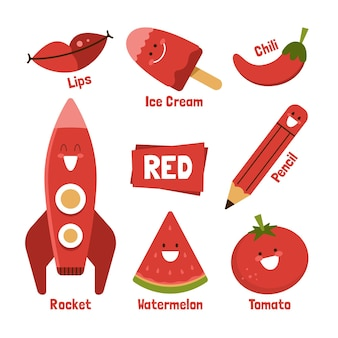Czerwone słowo i elementy w języku angielskim