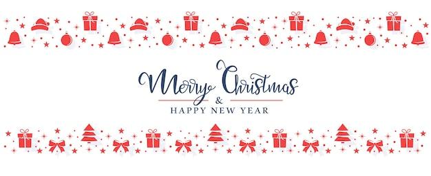 Czerwone symbole bożonarodzeniowe są losowo rozmieszczone na białym tle w postaci pasków.