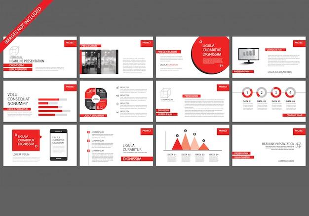Czerwone szablony prezentacji na tle pokazu slajdów.