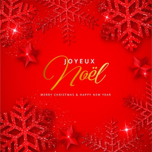 Czerwone tło boże narodzenie z błyszczącymi płatkami śniegu joyeux noel