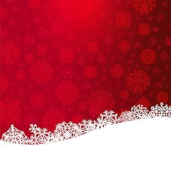 Czerwone tło boże narodzenie z papieru wyciąć białe płatki śniegu
