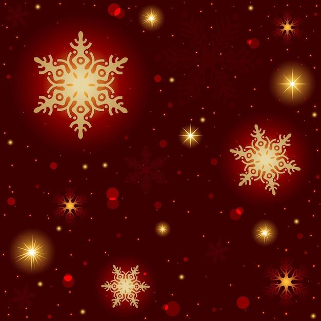 Czerwone tło boże narodzenie ze złotymi płatkami śniegu