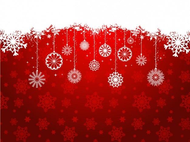 Czerwone tło christmas z wiszące dekoracji