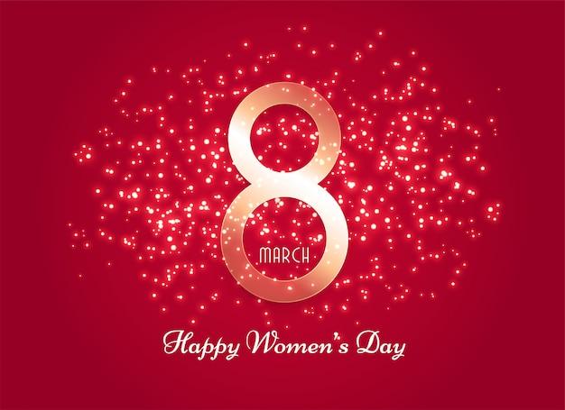 Czerwone tło dzień kobiet z efekt blasku