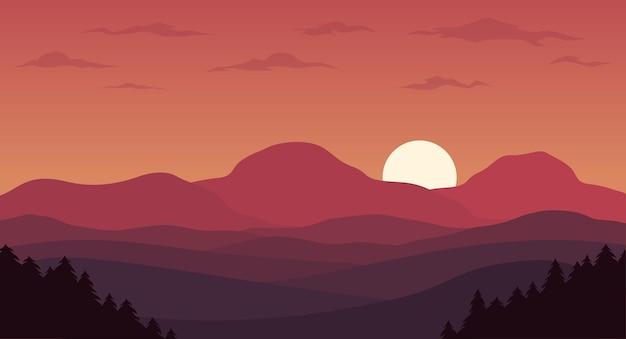 Czerwone tło krajobrazowe krajobrazowe wzgórze gradientowe