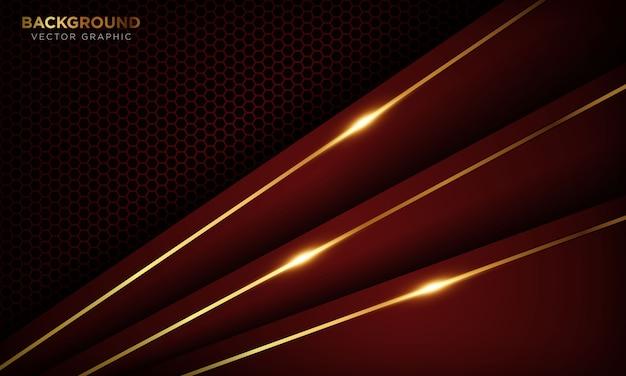 Czerwone tło luksusowe z nakładającymi się warstwami. tekstura ze złotą linią i błyszczącym złotym efektem świetlnym.
