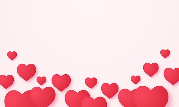Czerwone tło w kształcie serca w stylu sztuki papieru z pustą przestrzenią