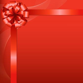 Czerwone tło z czerwoną kokardką z gradientową siatką,