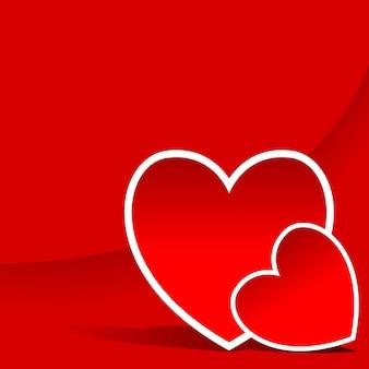 Czerwone tło z dwoma sercami na walentynkową kartkę z życzeniami lub kartkę na dzień matki itp