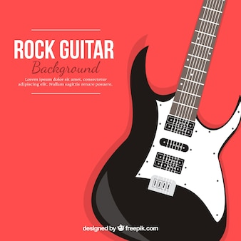 Czerwone tło z gitara elektryczna