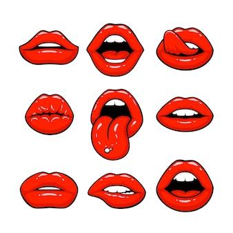 Czerwone usta, zbiór różnych kształtów. ilustracja wektorowa