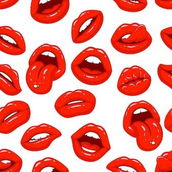 Czerwone usta, zbiór różnych kształtów, tekstura tło. ilustracja wektorowa