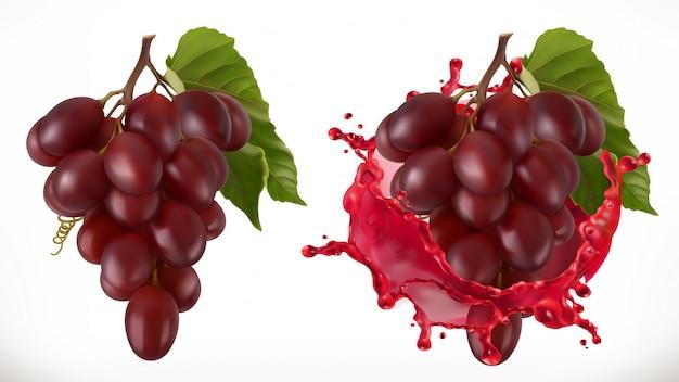 Czerwone wino plusk i winogrona. świeże owoce