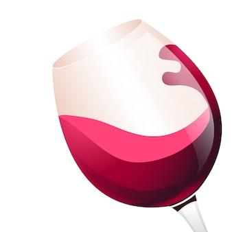 Czerwone wino w szklanej ilustraci. płaska konstrukcja.